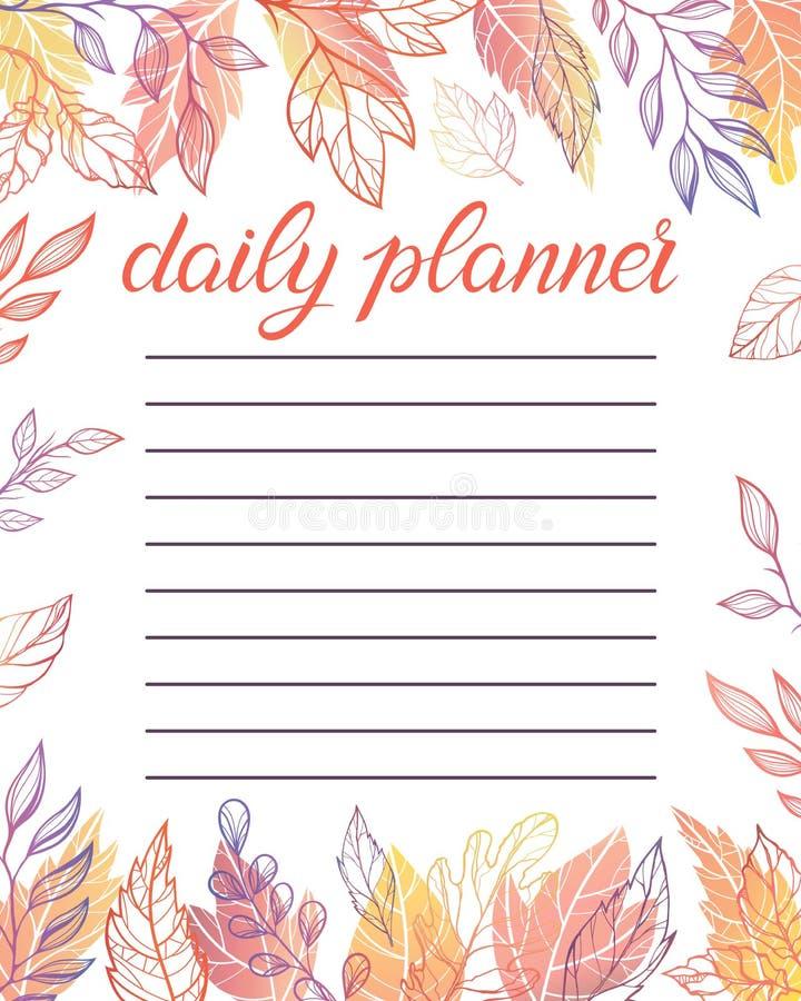 Planificateur quotidien à la mode illustration de vecteur