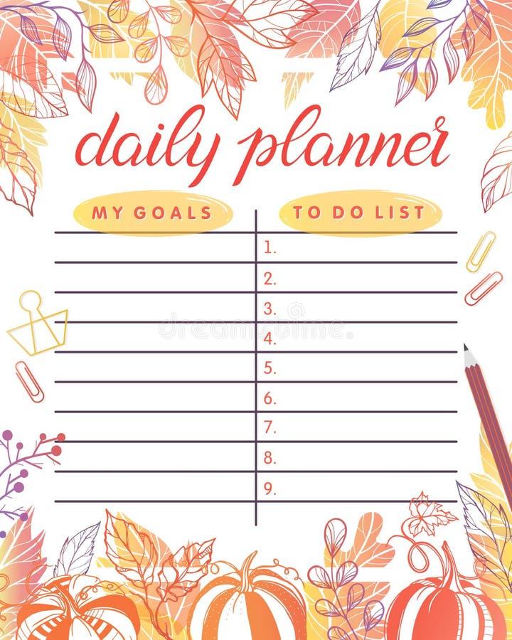 Planificateur quotidien à la mode illustration stock