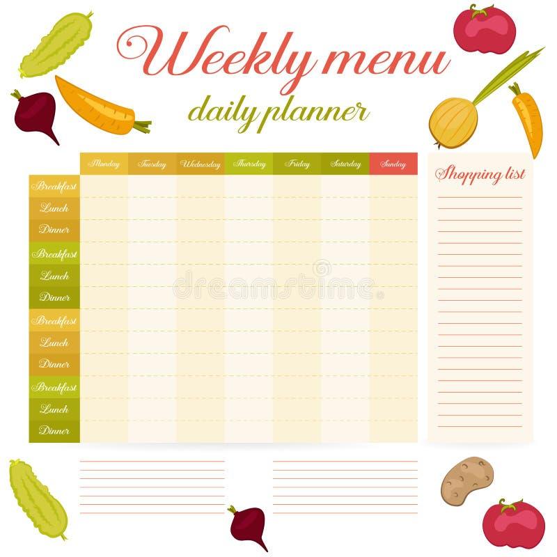 Planificateur quotidien de vintage mignon hebdomadaire de menu illustration de vecteur