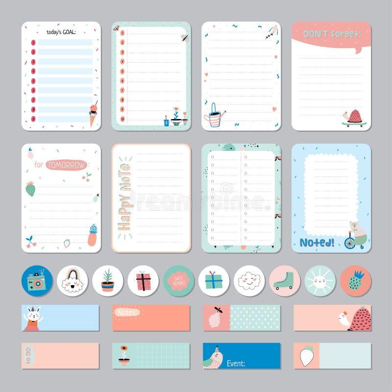 Planificateur quotidien et hebdomadaire de calendrier mignon illustration libre de droits