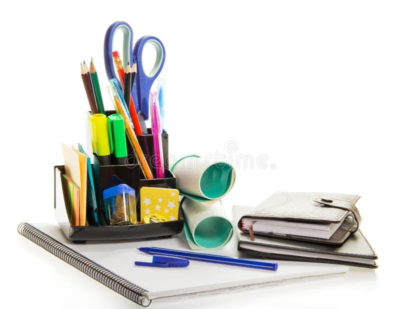 Planificateur quotidien, livre d'exercice, fourniture de bureau photographie stock libre de droits