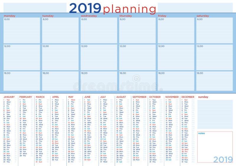 Planification 2019 avec le calendrier et le programme quotidien, anglais illustration stock