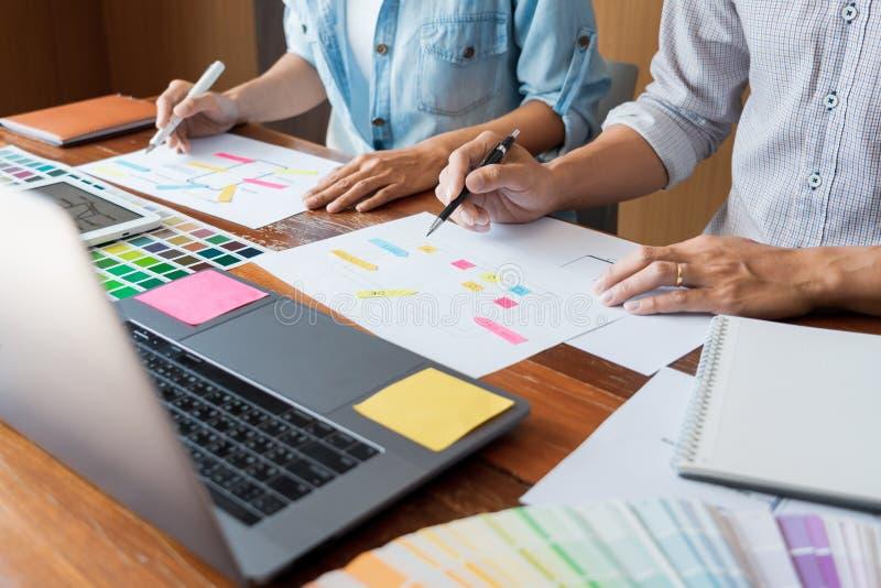 Planification créative de réunion de travail d'équipe de concepteur d'UI concevant la maquette de développement d'applications de images stock