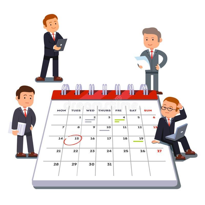 Planification d'équipe d'affaires de société sur un grand calendrier illustration stock