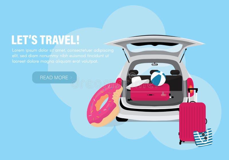 Planification d'été de voyage, bannière de vecteur Concept de voyage et de vacances illustration stock