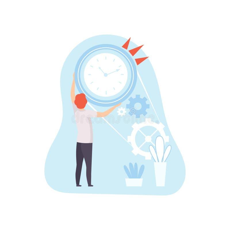Planification d'employé de bureau, organisant, temps de travail de contrôle, concept d'affaires d'illustration de vecteur de gest illustration stock
