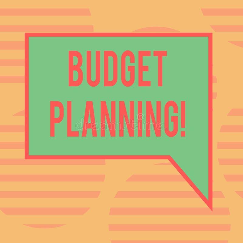 Planification de budget des textes d'écriture de Word Le concept d'affaires pour l'évaluation de planification financière des rev images stock