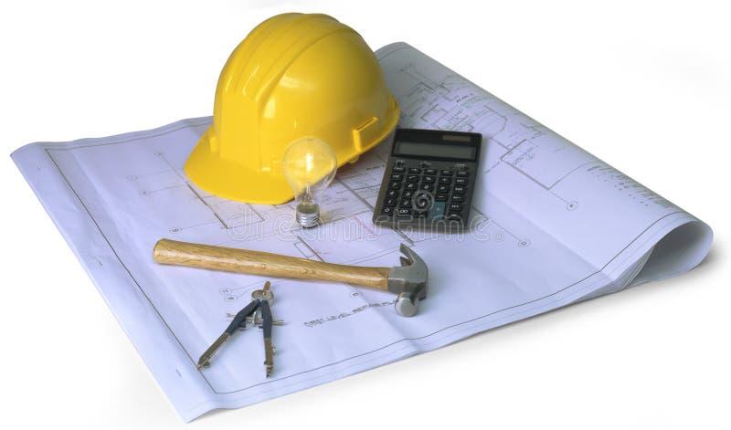 Planification de construction sur le fond foncé photos libres de droits