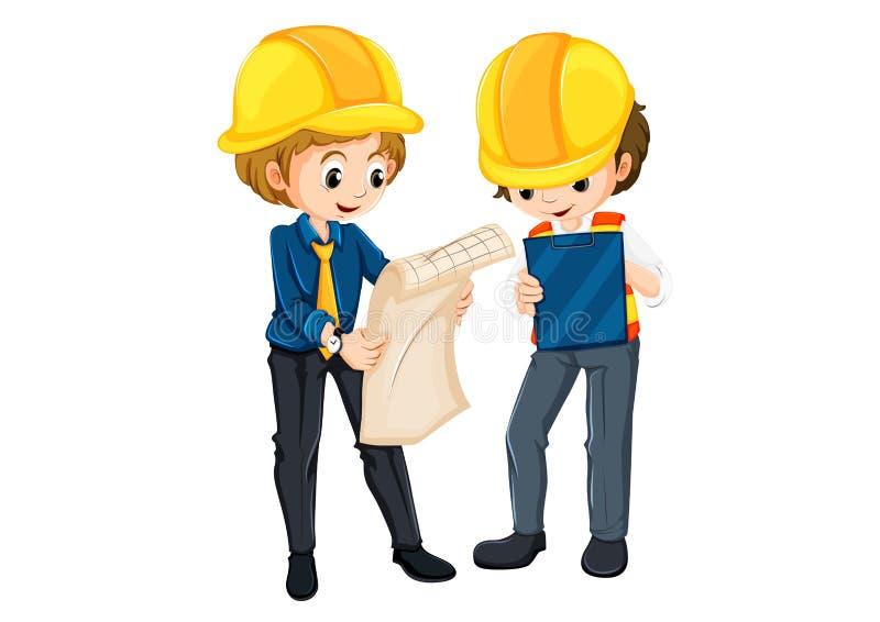 Planification de deux ingénieurs illustration de vecteur