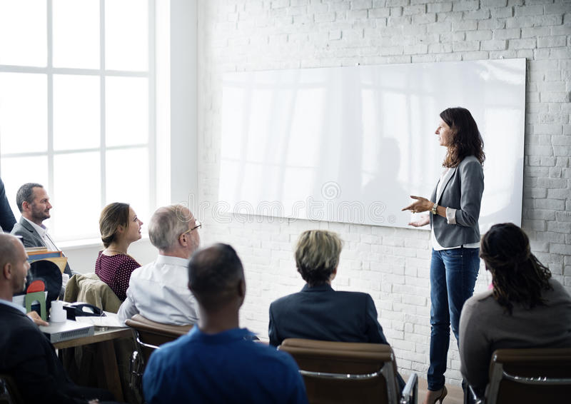 Planification de formation de conférence apprenant le concept de entraînement d'affaires photographie stock libre de droits