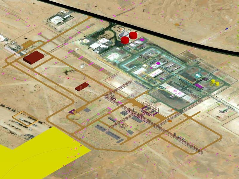 Planification de projets de pétrole et d'usine à gaz, planification 3D modèle photographie stock libre de droits