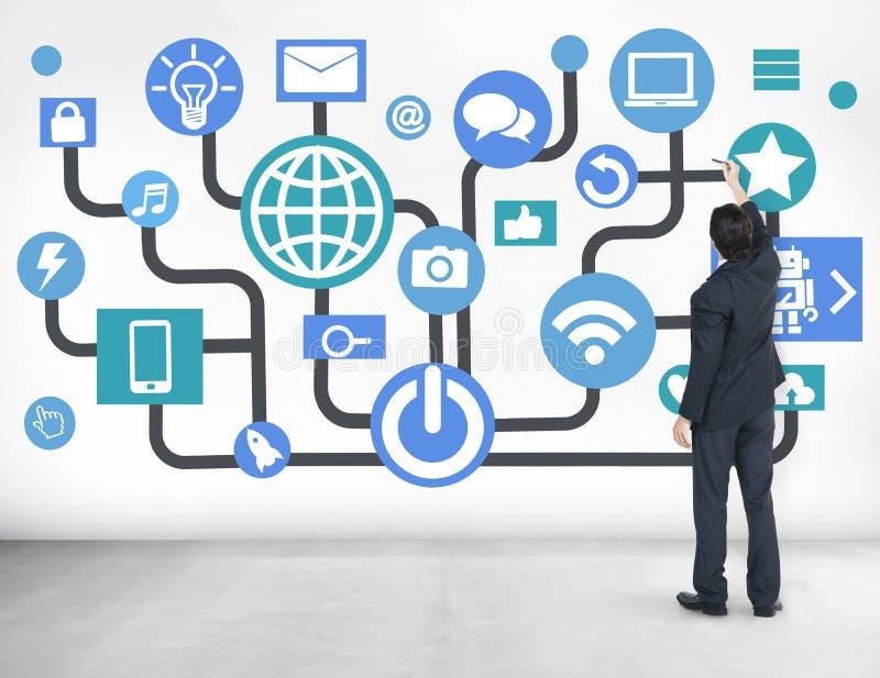 Planification des affaires sociale de mise en réseau de télécommunications mondiales en ligne image stock