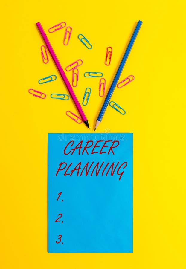 Planification des carri?res des textes d'?criture de Word Concept d'affaires pour la liste d'A de buts et des mesures que vous po image stock