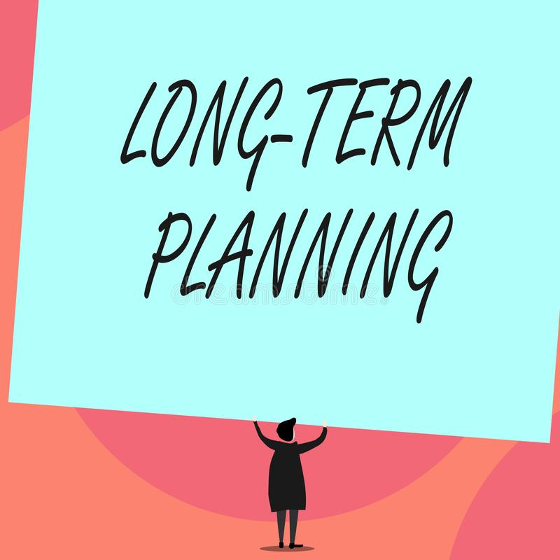 Planification ? long terme des textes d'?criture de Word Concept d'affaires pour des buts prévus Establish cinq vues ou plus d'an illustration stock