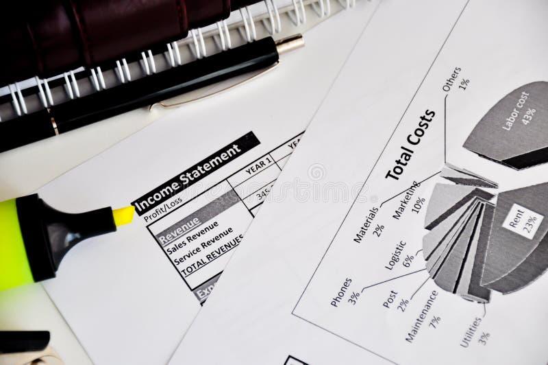 Planilha da declaração de rendimentos foto de stock