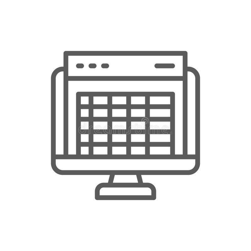 Planilha, tela de computador, linha ícone do relatório explicar financeiro ilustração royalty free