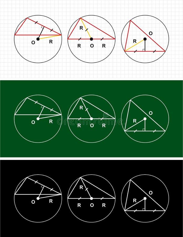 Planimetry. cirkel och triangel royaltyfri bild