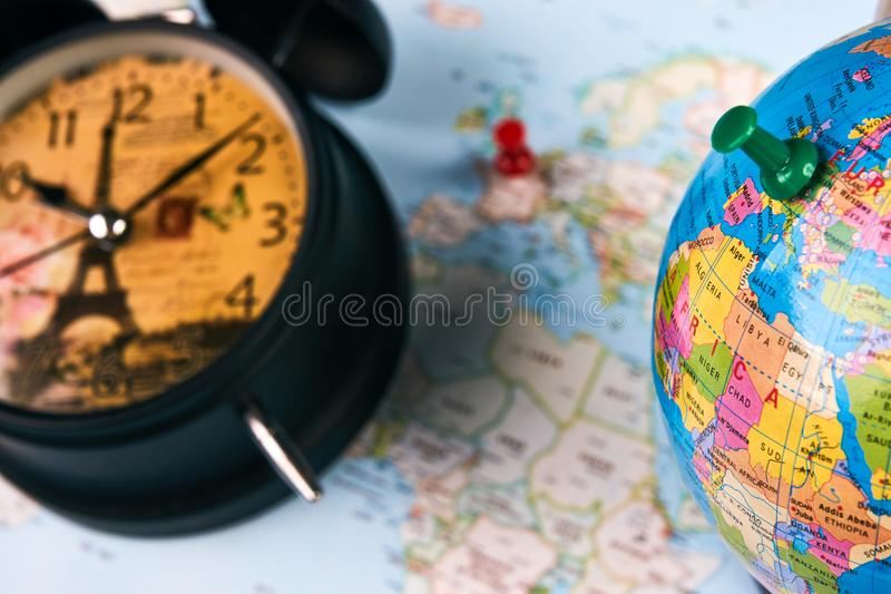 Planing for travel to france paris stock photo image of european planing for travel to france paris with worldmap globe and alarm clock travel time in europe concept european holidays traveling background with copy gumiabroncs Image collections