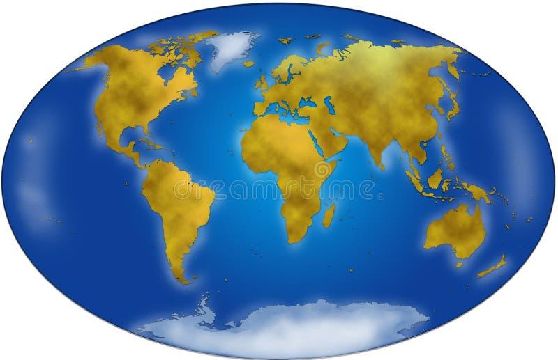 Planisphere do mapa de mundo ilustração do vetor