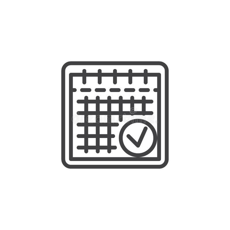 Planistyczna kalendarz linii ikona ilustracja wektor