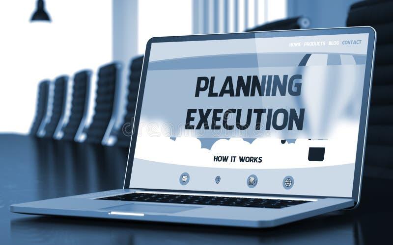 Planistyczny Egzekucyjny pojęcie na laptopu ekranie 3d fotografia stock