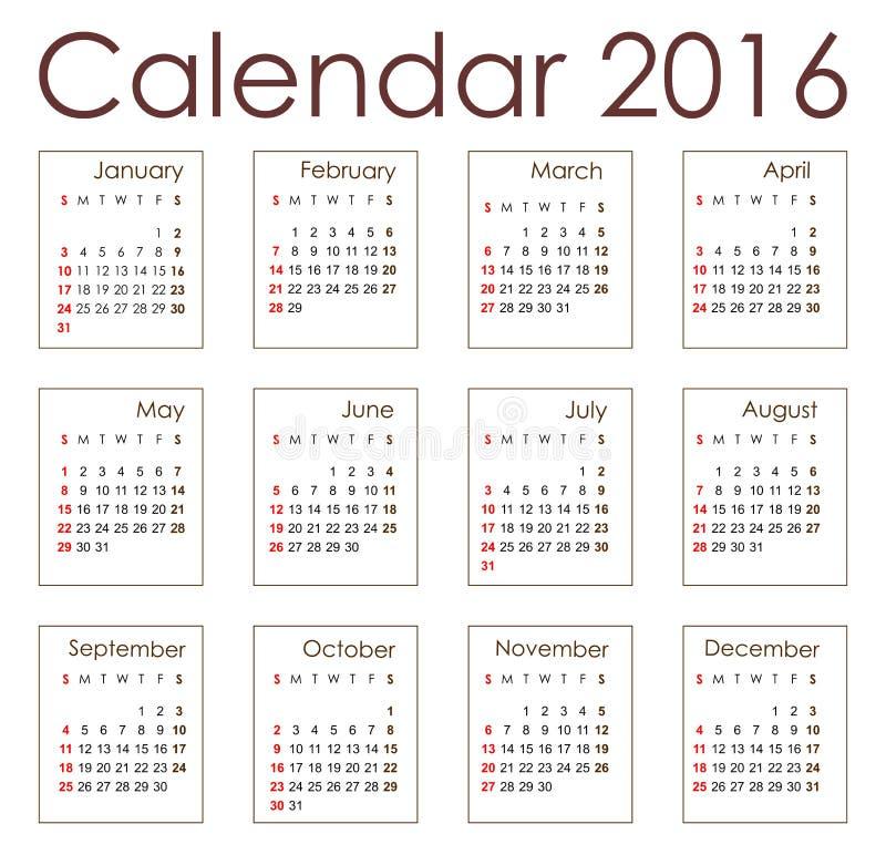 Planistyczny kalendarz 2016 ilustracja wektor