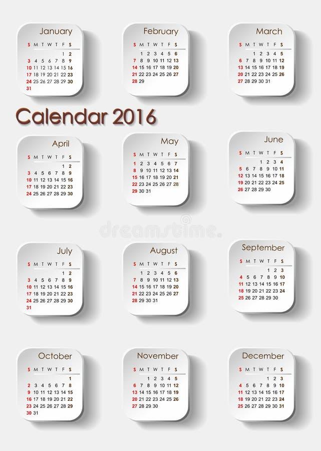 Planistyczny kalendarza 2016 portret ilustracji