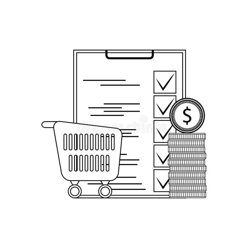 Planistyczny zakupu supermarket ilustracja wektor