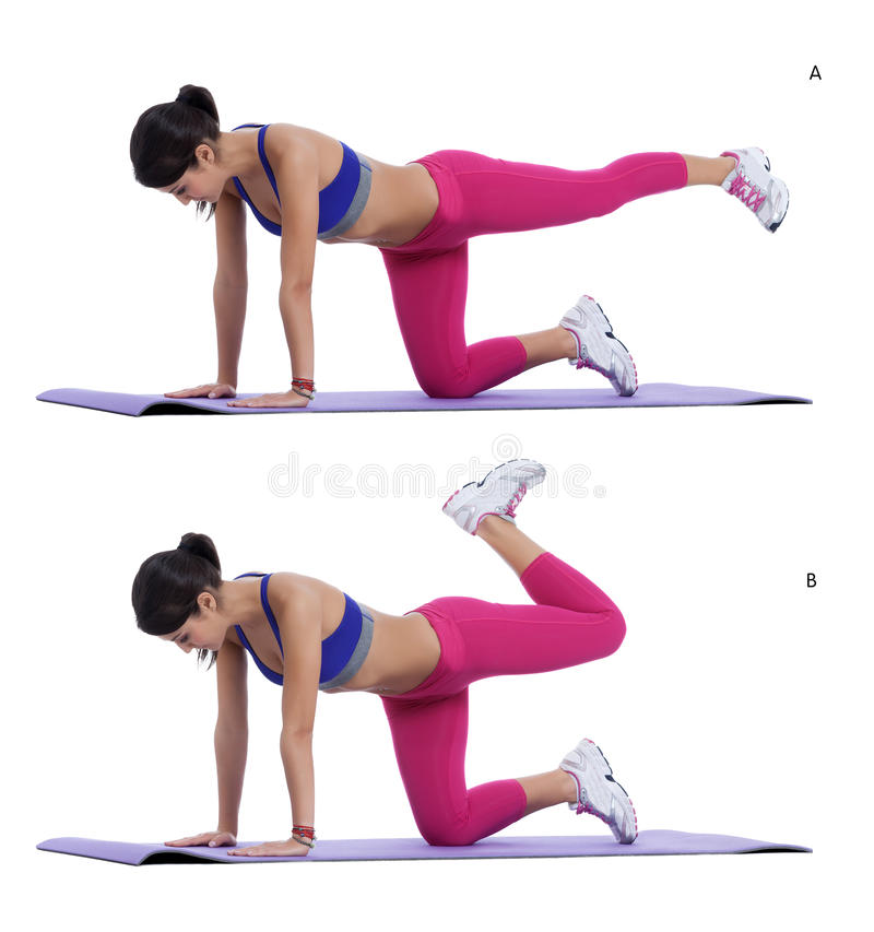 Plank bent leg. Step by step instructions: Get on all fours so that your hands are shoulder width apart and your knees are straight below your hips. Bracing your stock image