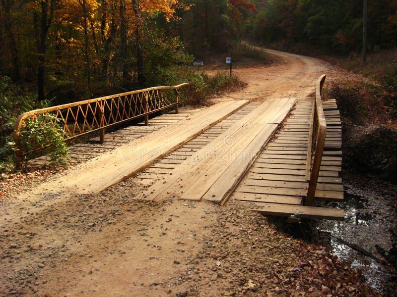 Plank Bridge on Dirt Road stock photo