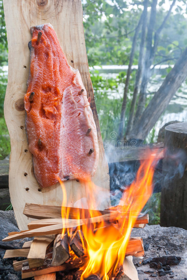 Plank cooked salmon royalty free stock photo