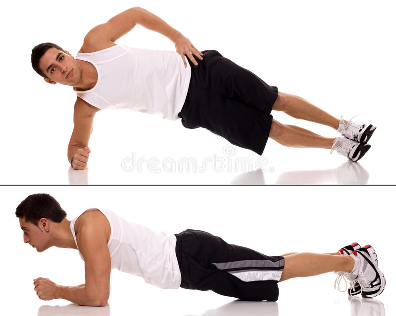 Plank Exercise. Plank (front hold, hover, abdominal bridge) exercise. Studio shot over white royalty free stock photo