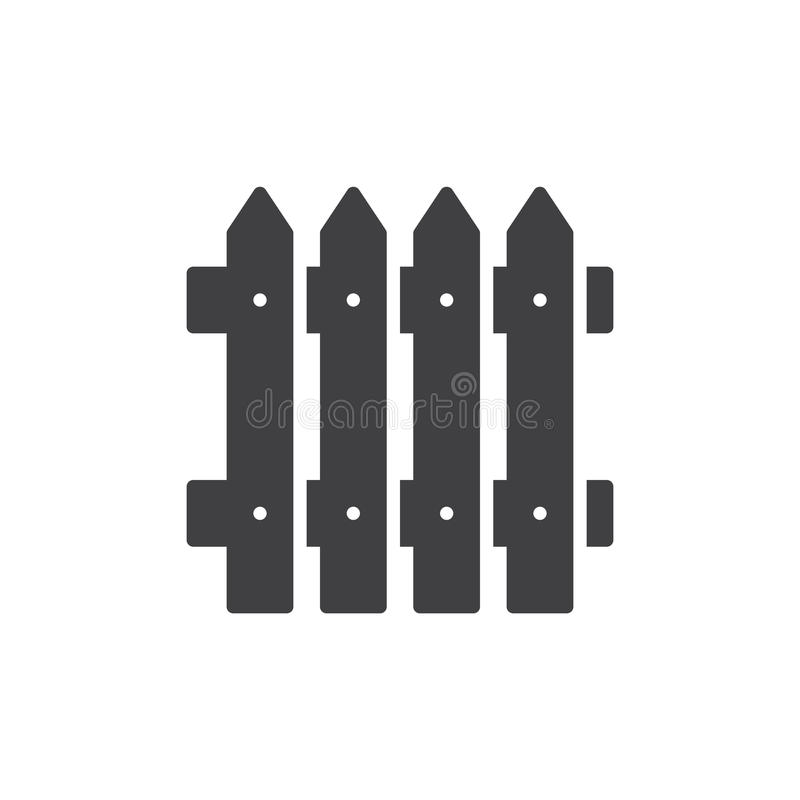 Plank fence icon vector, filled flat sign, solid pictogram isolated on white. Symbol, logo illustration. royalty free illustration