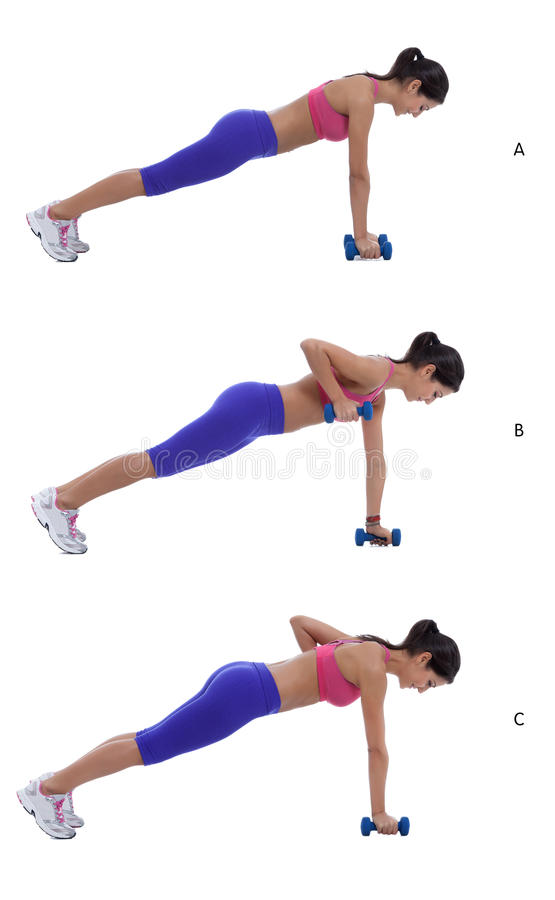 Plank Row Jack. Step by step instructions: Holding weights, begin in a full plank position with hands shoulder-width apart, abs tight, and feet together.(A) royalty free stock photography
