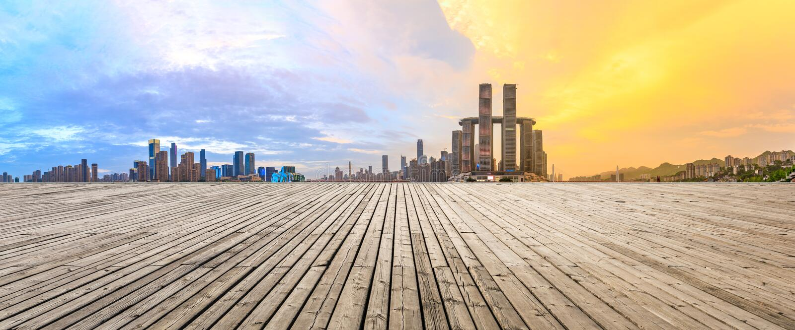 Plank square and City Skyline in Chongqing. Sunset Plank Square and City Skyline in Chongqing royalty free stock image