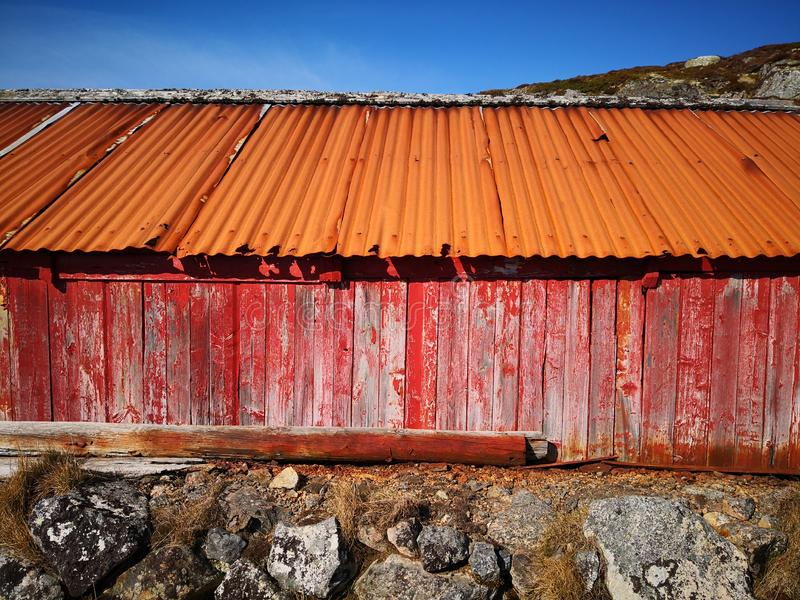 A plank wall on a fishing building in Norway royalty free stock photo