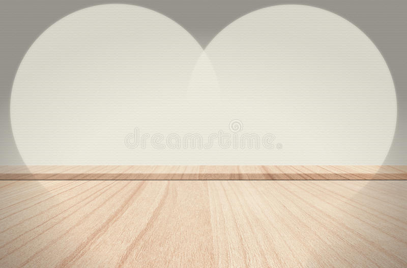 Plank wood in room interior with spot light to concrete background. royalty free stock photos
