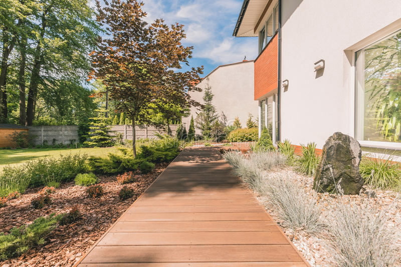 Planked terrace in sunny backyard royalty free stock photography