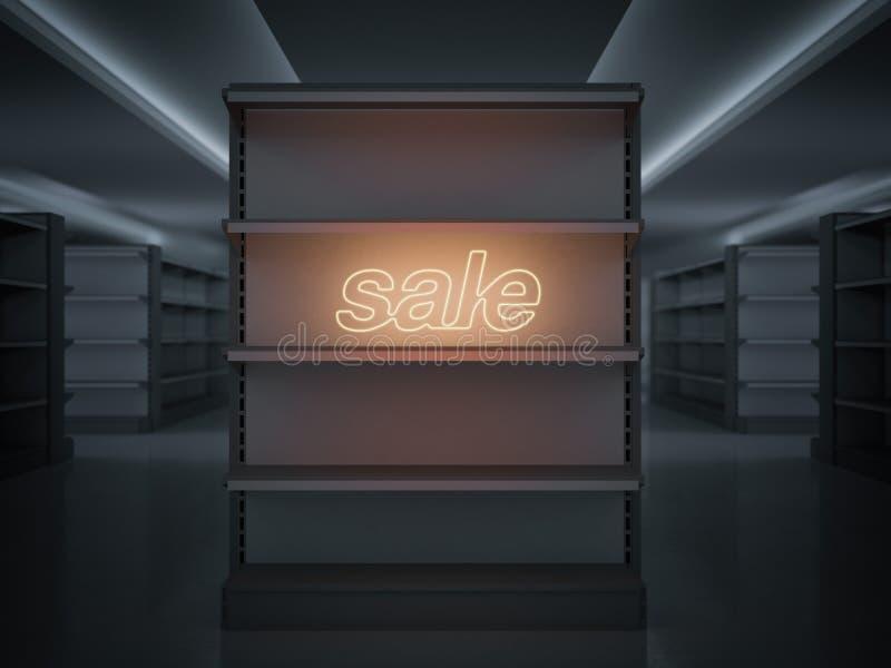 Planken in een opslag met gloeiend verkoopteken het 3d teruggeven stock illustratie