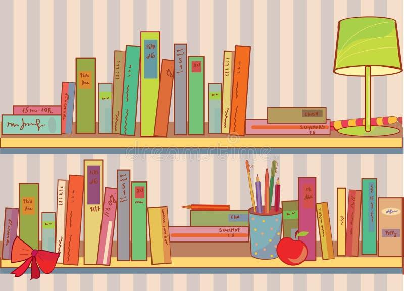 Planken met boeken thuis stock illustratie
