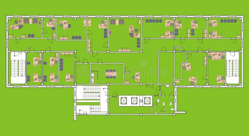 Plankontorsbyggnad stock illustrationer