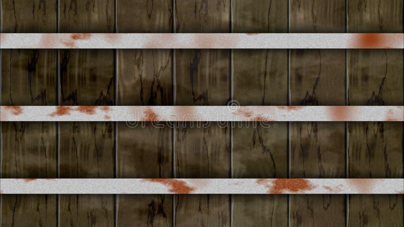 Plankor för ek för staket för trumma för sömlös modellbakgrund mörka bruna kulöra träig med tre rostiga beslag för järn stock illustrationer