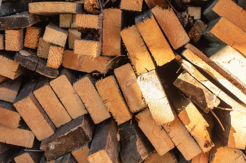Planks and wooden boards stacked up for the fireplace royalty free stock images