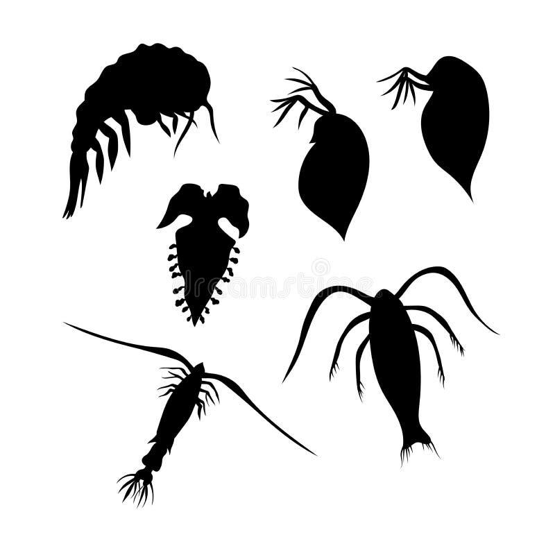 Plankton vectorsilhouetten vector illustratie