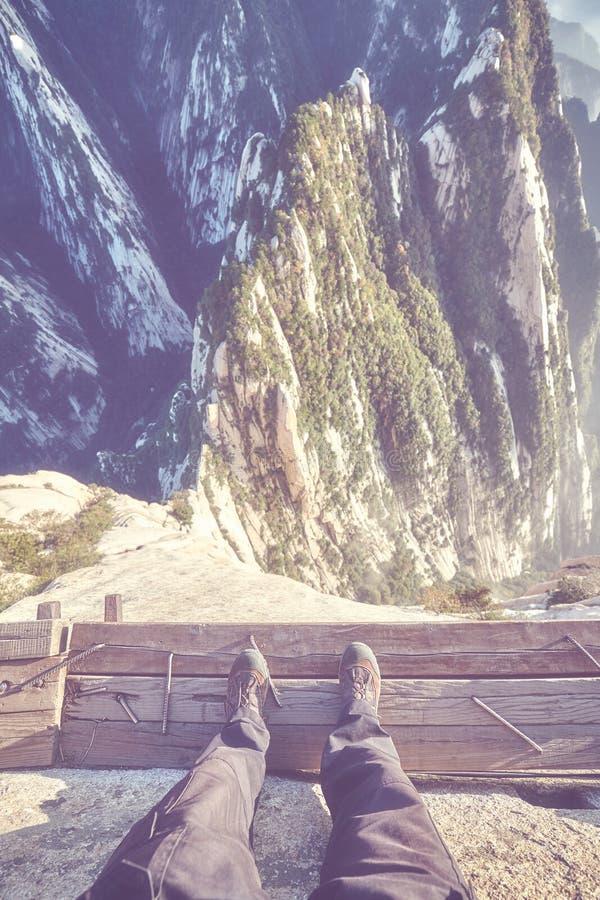 Plankweg in de Hemel bij Onderstel Hua, China stock afbeelding