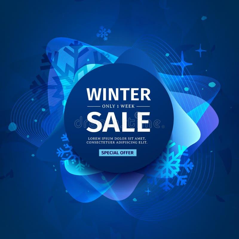 Planlägg banret med abstrakta beståndsdelar för försäljningen för det lyckliga nya året på en bakgrund av suddiga färgstänk med e vektor illustrationer