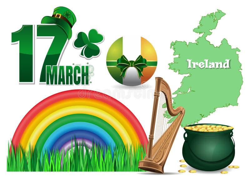 Planlägg beståndsdelsamlingen för dag för St Patrick ` s vektor illustrationer