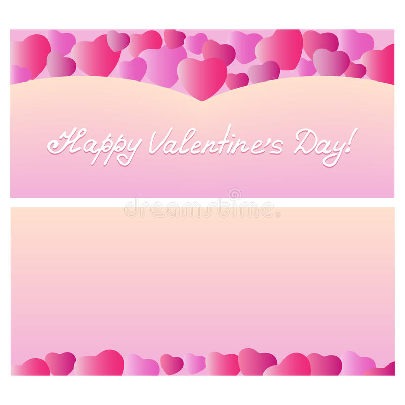 Planlägg dagen för ` s för valentin för hälsningkortet med hjärtor Mall för feriekuponger, reklamblad, baner, rabatt royaltyfri illustrationer