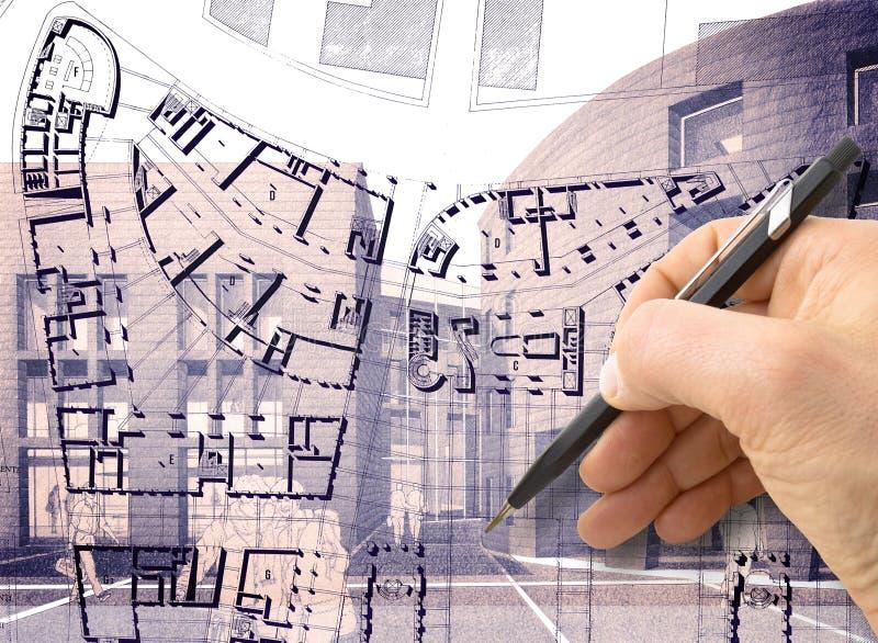 Planlägg en ny stad - hand dra med en blyertspenna skissa av en ny modern stad inre - begreppsbilden - jag är copyrighten royaltyfri illustrationer