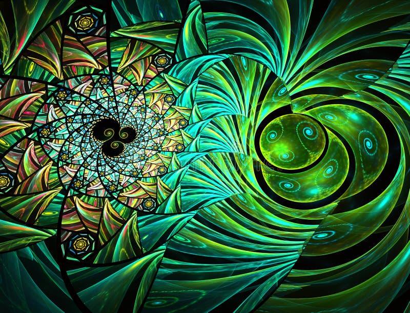 planlägg geometriskt Mosaisk målat glasstextur stock illustrationer